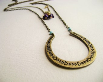 Bohemian style layering necklaces Horseshoe lucky pendant gold violet turquoise touches two long boho chic bohemian style jewelry necklaces