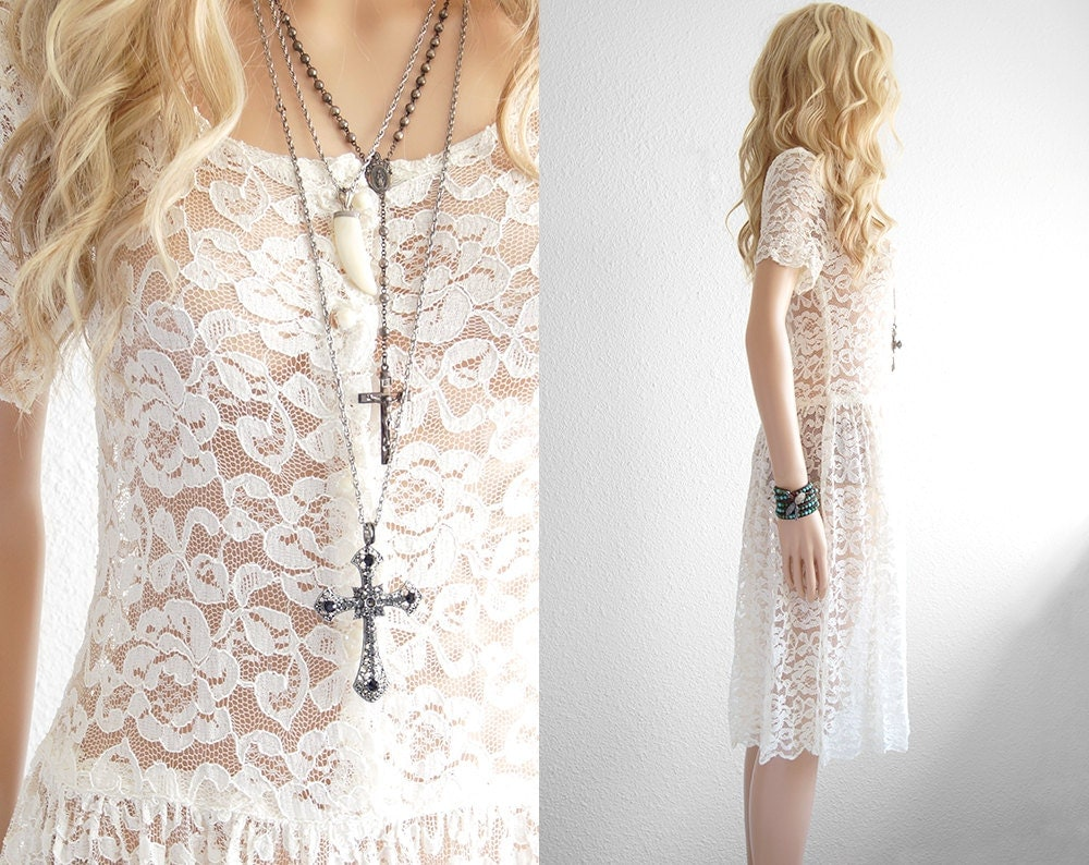 Lace dress white lace dress bohemian wedding dress lace for Bohemian white wedding dress