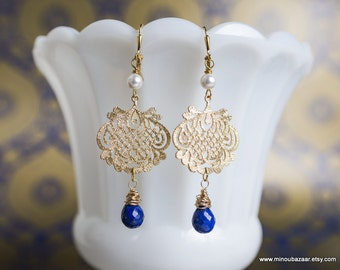 Gold Lapis Earrings Gifts for Her Pearl Silk Road by MinouBazaar