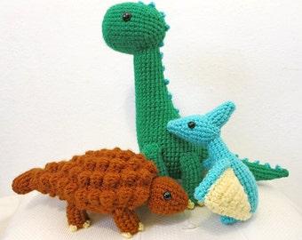 Dinosaur Crochet PATTERN BUNDLE 3 - Amigurumi DInosaurs Brachiosaurus, Pterodactyl,  Ankylosaurus - amigurumi pattern dinosaur toy, softie