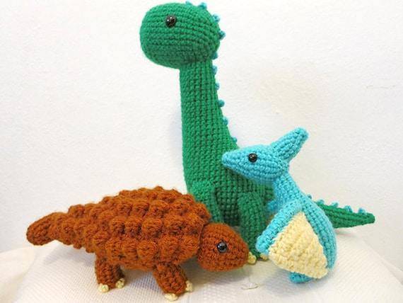 Amigurumi Dinosaur Pattern : Dinosaur Crochet PATTERN BUNDLE 3 Amigurumi DInosaurs