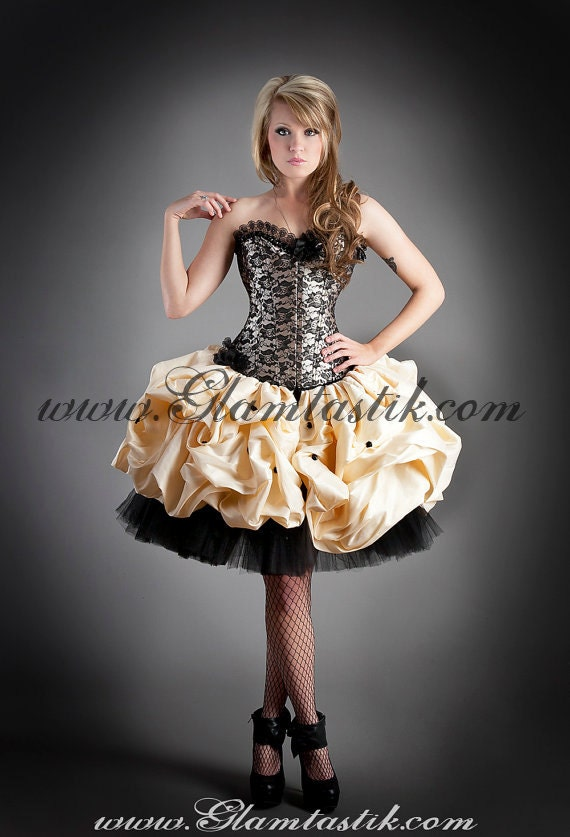Custom Size black and gold lace burlesque corset prom dress with tulle and dupioni shantung skirting with pickups