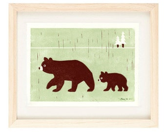 BEARS Linocut Reproduction Art Print: 4 x 6, 5 x 7