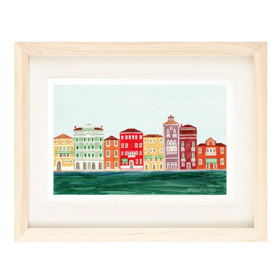 VENICE, ITALY - Colorful Illustration Art Print 11 x 17 Venetian Architecture Italian Design
