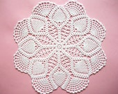 White Crochet Doily Cotton Center Piece with Pineapple and Airy Fan Pattern Heirloom Quality