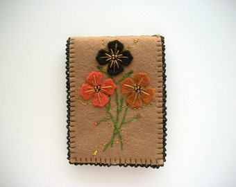 Brown Needle Book with Hand Embroidered Felt Flowers and Crochet Edge Handsewn