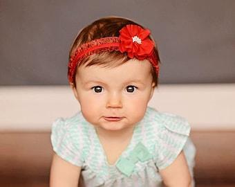 red elastic headband, red flower headband, girl headband, baby headband, womens headband, infant headband, newborn headband, girl birthday