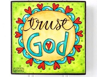 TRUST GOD - Word Art Block - Christian - Inspirational - Stackable - Wall Decor- 4x4