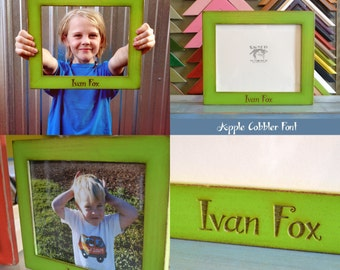 Personalized 8x10 Picture Frame in 1.5-inch Standard Style in VINTAGE Color of Your Choice and with Your Custom Message Engraved in Wood