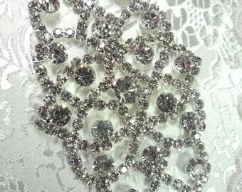 """N15 Bridal Crystal Rhinestone Sash Applique Metal Back Embellishment 3.5"""" (N15-slcr)"""