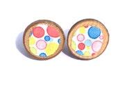 BUBBLE Earrings, Fabric & Wood, Cute Colourful Kawaii Circles, Comfort Clutch Post Earrings