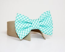Gingham Dog Bow Tie- Shirt and Bow Tie Collar-  Wedding Dog Tie- Mint- Dog Tie