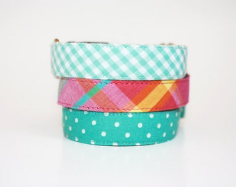 Dog Collar- fabric dog collar- gingham- madras plaid- polka dot- wedding dog collar