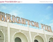 SALE 25% OFF Brighton Lights - Typography Photograph, Marquee Lights, Word Art, Pastel Decor, Red, Creamy White, Pastel Blue, Architecture P