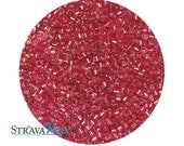 DB-1338 11/0 Miyuki Delica Seed Beads - raspberry pink seed beads - transparent silver lined dyed beads - round cylinder seed beads