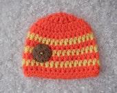 Newborn Baby Boy Beanie Hat with Button - Hand Crocheted