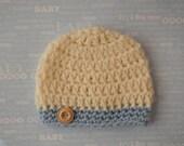 Newborn Baby Boy Beanie Cap With Button-Photographer's Prop-Hand Crocheted
