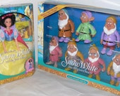 Snow White and the Seven Dwarfs Dolls Mattel Gift Set NIB 1992 Color Changing