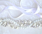 Pearl Bridesmaid Necklace, Rhinestones and Ribbon Color Your Choice, Swarovski Junior Bridesmaid Wedding Jewelry White Pearls with Silver