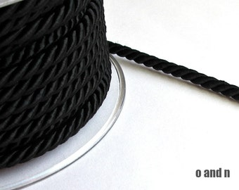 Twisted silk cord, 5mm, black satin rope, 2 meters