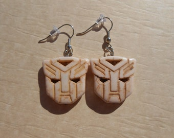 Transformers Autobot White Howlite Earrings