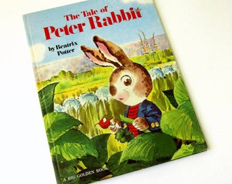 Vintage 1970s Childrens Book / The Tale of Peter Rabbit by Beatrix Potter 1974 Hc / Big Golden Book