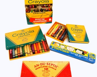 Vintage Collection of Binney and Smith Art Supplies / Crayons, Chalk, Water Color Set