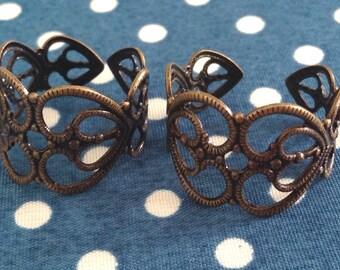 10 pcs, Adjustable Antique Brass Filigree Ring (FR02)