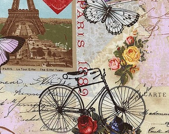 Antique Paris Postcards Fabric by Timeless Treasures Eiffel Tower France Multicolored Butterfly and Bicycles