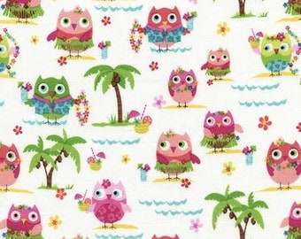 Timeless Treasures Novelty Fabric Pink Green Hula Owls Owl with Waves and Palm Trees on White