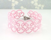 Pink lace bracelet, Pink tatted lace bracelet, Tatted lace with glass seed beads, Pink and white beaded bracelet, Pink Victorian bracelet