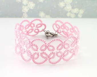 Pink Lace Bracelet - Pink Bridesmaid Bracelet - Tatted Lace Jewelry - Beaded Wristlet -  Wedding Jewelry - Gift for Bridesmaids - Romantic