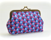 Coin Purse - Metal Frame Pouch - medium - Geometric in Blue