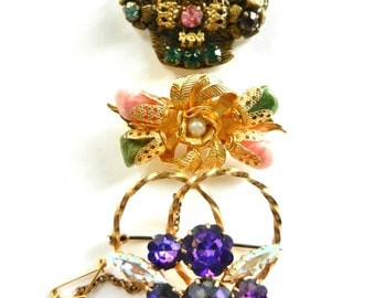 Spectacular trio of antique European brooches - Semi-precious stones, gold and Czech crystals - to collect and wear--art.968/2-