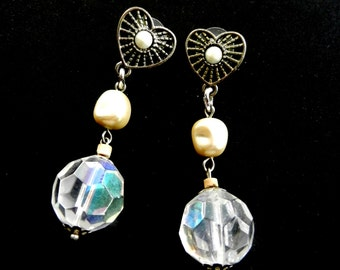 Lovely Long dangling earrings with baroque pearl, large crystal Bead - original Italian earrings 1970--Art.197/3-