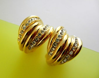 Vintage Italian 1970 - beautiful golden earrings, dazzling white crystals--Art.349/3 -