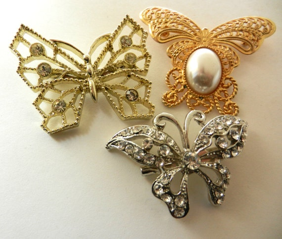 Deco Style 1950/1960 VINTAGE BUTTERFLY-three charming and feminine collection butterfly brooches--Art.119--