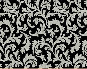 Gray Floral Fabric Fleur Noir Fabric Gray Swirl 33190 4