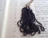Antique French Steel cut bead hank original  Jet Black