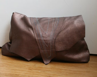 Brown leather clutch bag, metallic brown boho style leather clutch bag with metallic embroidery on the flap, brown summer clutch bag ON SALE