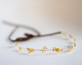 Crystal Twigs Wreath, Gold Leaves Wreath, Bridal Hair Accessories, Bridal Headband, Golden Leaves Tiara, Dainty Boho Crown, Delicate Tiara