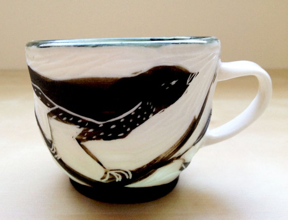 Porcelain Hand Carved Espresso Cup with Black Bird