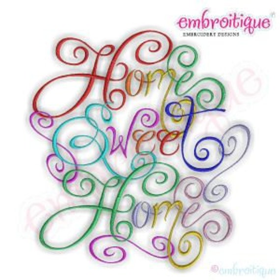 Home sweet home calligraphy script embroidery design small for Home sweet home designs