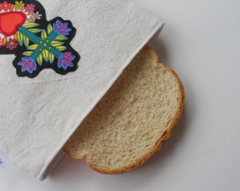 Folk Art Heart and Cross Reusable Sandwich Bag/ Mexican Corazon Reusable Sandwich Bag