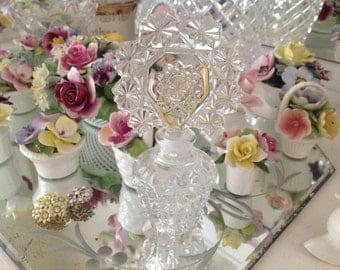 Beautiful Old Cut Glass Perfume Bottle Unique Design Vintage Perfume Bottle