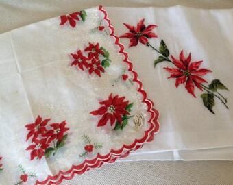 Set Of Two Vintage Handkerchiefs Poinsettia Christmas Vintage Burmel