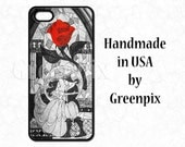 black white Beauty and the Beast wedding, Disney iPhone 4 4s 5 5s 5c 6 case Galaxy S5 case, Belle stained glass mosaic, red rose minimalist
