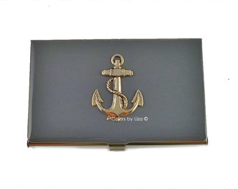Sailor Anchor Inlaid in Hand Painted Enamel Gray Opaque  Metal Wallet Personalized and Custom Color Options