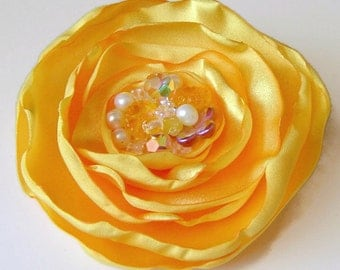 Sunshine Yellow Large Satin Fabric Rose with Crystal and Pearl Cluster Perfect Wedding Hair Clip