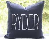 "Personalized Name Pillow Cover 16"" x 16"" Navy Cotton Fabric with White Embroidery"